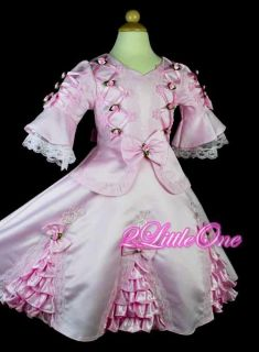 Pink Pageant Party Costume Vintage Victorian Dress Size 3 4T VD002