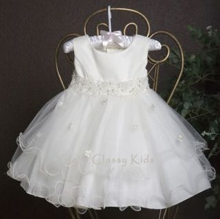 New Baby Girls Ivory Dress Baptism Christening Dedication Wedding Flower Girls