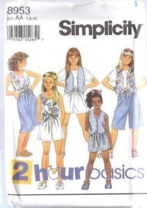 Uncut Vintage Simplicity Sewing Pattern Little Girls Shorts Top Lined Vest 8953