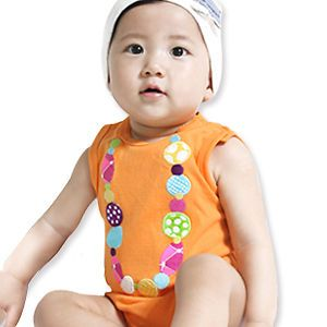 Made in Korea New Sleeveless Orange Baby Boy Girl Infant Cotton Clothing WBA 154