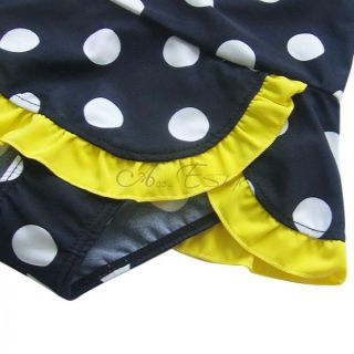 Girls Kids Polka Dots Halter Swimsuit Swimwear Bathing Suit Swimming Costume 7 8