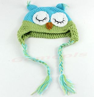 New Cut Toddler Baby Girls Boys Owls Animal Crochet Knit Woolly Cap Ear Hat