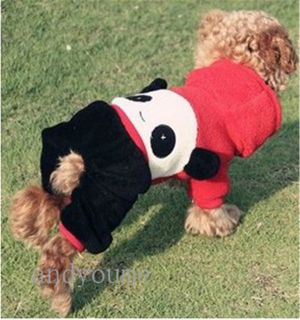 Pet Puppy Dog Clothes Clothing Hooded Dress Panda Costume Apparel Coat 0269D New