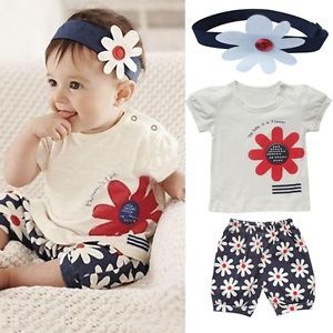 3pcs Baby Girl T Shirt Headband Top Pants Shorts Outfit Clothes 18 24Month NL14