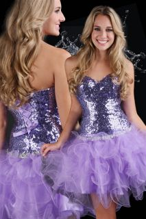 Flirty Sexy Strapless Sequined Short Evening Gown Prom Dress Purple Sparkle