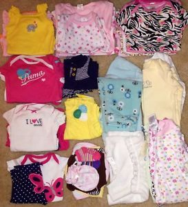Infant Baby Girl Clothes Lot Size Newborn 0 3 Months Spring 45 Pcs Carters