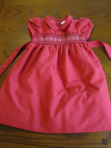 Osh Kosh Red Smocked Flower Party Dress Tulle Girl Toddler Size 3 3T