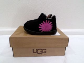 New UGG Australia Toddler Girls Marlee Black Suede Boots Size 6 8
