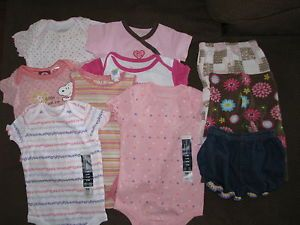 Great Lot of Baby Girls Clothes Jean Shorts Pants Onsies 6 9 Months