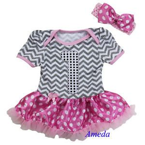 Baby Silver 1st Birthday Gray Chevron Pink Party Dress Bodysuit Pettiskirt Tutu