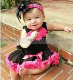 SHN 2pcs Baby Girl Kids Top Skirt Dress Tutu Pettiskirt Cloth Costume BLACKA2017