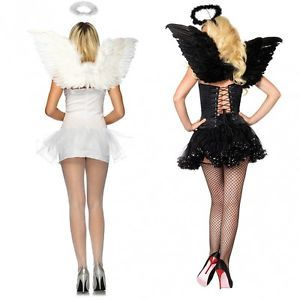 Angel Kit Black or White Wings Halo Adult Teen Junior Halloween Costume Acsry