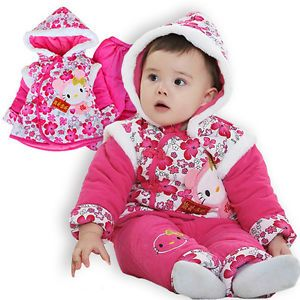 Tang Suit Baby Girls Winter Clothes 2pcs Set Jacket Pants Chinese Costume Outfit