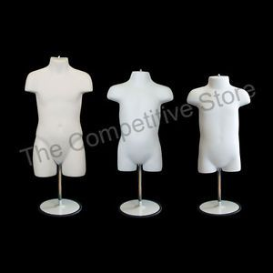 Infant Toddler Child Mannequin Form w Metal Base Children Clothing White