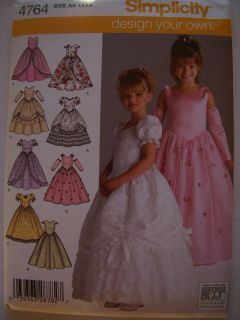 Sewing Patterns Pageant Holiday Party Girl's Dresses Gowns Size 3 6 5 8