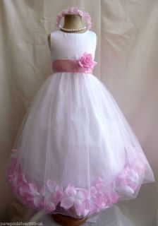Pink Toddler Infant Pageant Recital Bridal Party Rose Petal Flower Girl Dress