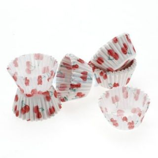 75 Mini Cherry Print Cake Chocolate Paper Cases Cupcake Liners Baking Cups Wraps