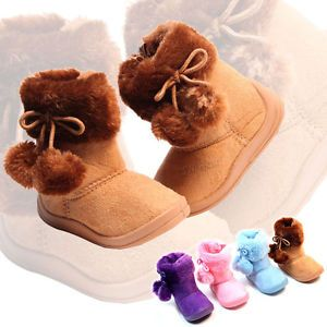 New Babys Girls Kids Toddler Infant Flat Pompoms Winter Fur Boots Shoes Size4 10