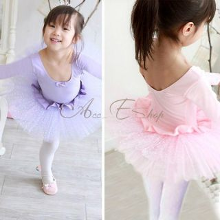 Girls Kid Ballet Dance Dress Polka Dots Tutu Skate Leotard Fairy Costume Sz 4 7
