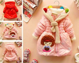 Baby Girls Clothes Winter Coat Kids Cute Balls Warm Hood Jacket Gown 2 6Year