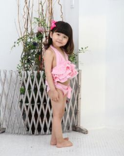 Girl Pink Swimwear Tankini Swimsuit Bikini Bathers 1 6Y Kids Swimming Costume