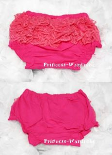 Baby Hot Pink Lace Panties Bloomer for Pettiskirt 6M 3Y
