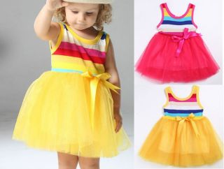 Kids Girls Rainbow Dance Short Skirts Shaqun Tutu Princess Dress 0 3Year