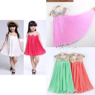 New Girl Kids Baby Sequin Pleated Skirt Chiffon Party Dress Clothes Outfit 3 7Y