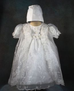 Gilrs Baptism Christening Dress Gown Wedding White FV Size 6 12 Months