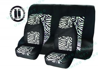 Zebra Mesh Seat Covers Set White Black 9pc Steering Wheel Cover High Back