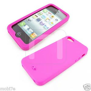 Hot Pink Silicone Gel Soft Skin Case Cover Accessory for Apple iPhone 5 5th 5g