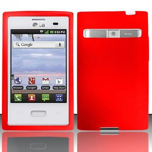 Red Silicone Gel Skin Case Cover LG Optimus Logic L35G Dynamic L38C Accessory