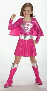 Pink Supergirl Girls Fancy Dress Superhero Superman Kids Costume Outfit 3 10 Y