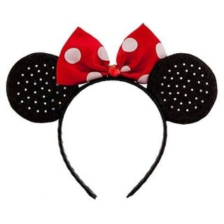 Minnie Mouse Red White Polka Dot Bow Headband Rhinestone Ears NWT