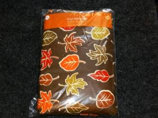 Thanksgiving Fall Primitive Leaves Leaf Vinyl Tablecloth Flannel Back All Size