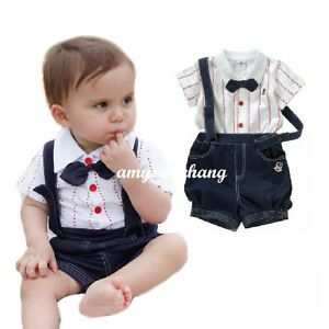 2pcs Baby Boy Top T Shirt Overalls Pants Shorts Set Outfit Clothes Bow Tie 2 3Y