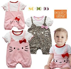 Girl Baby Hello Kitty Romper Newborn Infant Toddler 1 Piece Jumpsuit Clothes