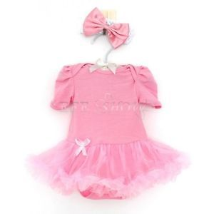 2pc Newborn Baby Girls Romper Dress Pink Outfits Jumpsuit Clothes Headband 6 9M