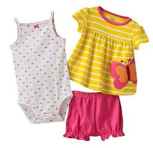 Carters Baby Girl Clothes Summer 3 Piece Set Yellow 3 6 9 12 18 24 Months