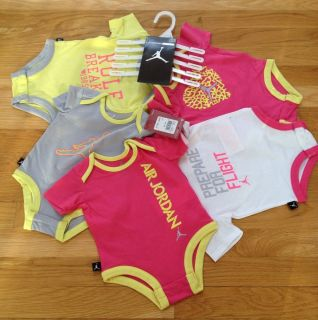 Nike Air Jordan Baby Girl Bodysuit Shirt Clothes Lot 5 PC Size 0 3M $60 New