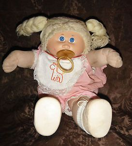 Cabbage Patch Kids Doll Baby Pink Clothes Pacifier Blonde Hair Plush Stuffed
