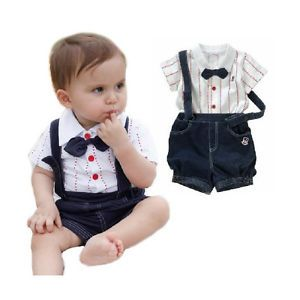 2pcs Kid Baby Boy Top T Shirt Overalls Pants Shorts Set Outfit Clothes Bow Tie