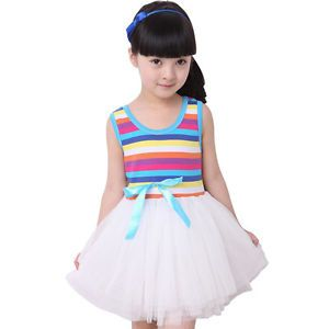 Baby Girls Kids Toddler Clothes Tutu Rainbow Strips Skirt Ruffle Dress 5 6T