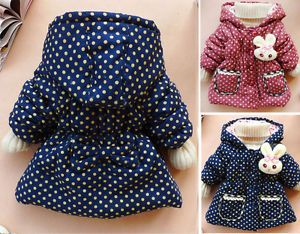 Baby Girls Kid Toddler Polka Dot Clothes Child Coat Outwear Jacket Snowsuit
