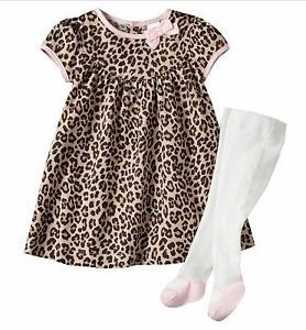 Carters Baby Girl Clothes Dress Tights Beige Pink Print 6 9 12 18 24 Months