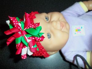 Baby or Girl Korker Ribbon Hair Bow Headband Christmas Holiday Red Green White