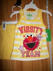 New Elmo Baby Clothes 3T Sesame Street Toddler Girls Shorts Set Tank Top Outfit