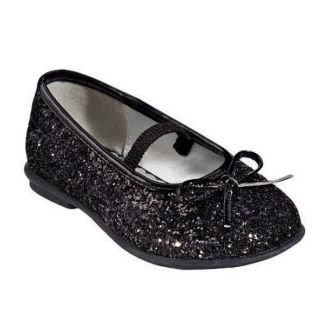 Circo Toddler Girls Black Glitter Dress Shoes Adaline Ballet Flats Mary Janes