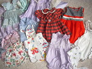 Vintage 40's 50's Kids Clothing Lot Baby Toddler Girl Doll Dresses Sunsuits