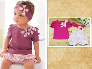3 Pcs Baby Girl Infant Short Top Pant Headband Outfit Costume Clothing 0 36M